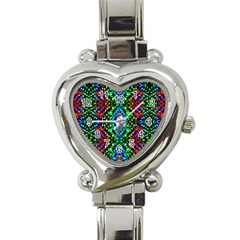Glittering Kaleidoscope Mosaic Pattern Heart Italian Charm Watch by Costasonlineshop