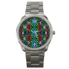 Glittering Kaleidoscope Mosaic Pattern Sport Metal Watch by Costasonlineshop