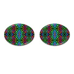 Glittering Kaleidoscope Mosaic Pattern Cufflinks (oval) by Costasonlineshop