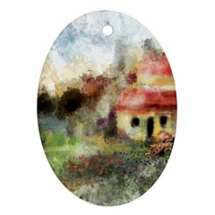 Old Spanish Village Oval Ornament (two Sides) by digitaldivadesigns