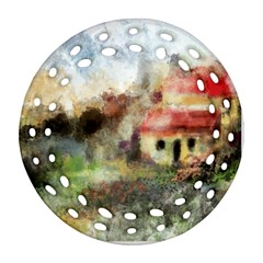 Old Spanish Village Round Filigree Ornament (two Sides) by digitaldivadesigns