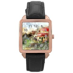 Old Spanish Village Rose Gold Leather Watch  by digitaldivadesigns