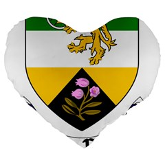 County Offaly Coat Of Arms  Large 19  Premium Flano Heart Shape Cushions by abbeyz71