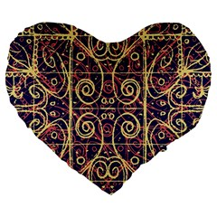 Tribal Ornate Pattern Large 19  Premium Flano Heart Shape Cushions by dflcprints