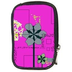 Flowers And Squares              Compact Camera Leather Case by LalyLauraFLM
