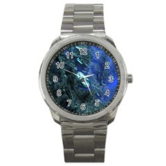 Shiny Blue Pebbles Sport Metal Watch by linceazul