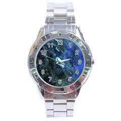 Shiny Blue Pebbles Stainless Steel Analogue Watch by linceazul
