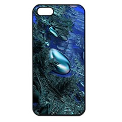 Shiny Blue Pebbles Apple Iphone 5 Seamless Case (black) by linceazul