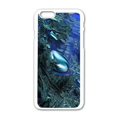 Shiny Blue Pebbles Apple Iphone 6/6s White Enamel Case by linceazul
