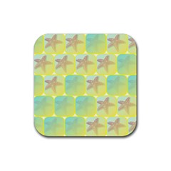 Starfish Rubber Square Coaster (4 Pack)  by linceazul
