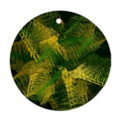 Green And Gold Abstract Round Ornament (two Sides) by linceazul