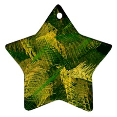 Green And Gold Abstract Star Ornament (two Sides) by linceazul