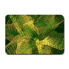 Green And Gold Abstract Small Doormat  by linceazul