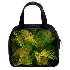 Green And Gold Abstract Classic Handbags (2 Sides) by linceazul