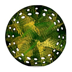 Green And Gold Abstract Round Filigree Ornament (two Sides) by linceazul