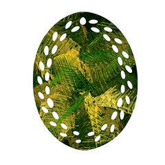 Green And Gold Abstract Ornament (oval Filigree) by linceazul