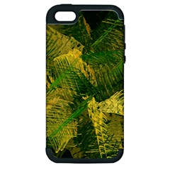Green And Gold Abstract Apple Iphone 5 Hardshell Case (pc+silicone) by linceazul