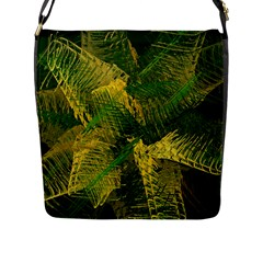 Green And Gold Abstract Flap Messenger Bag (l)  by linceazul