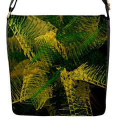 Green And Gold Abstract Flap Messenger Bag (s) by linceazul