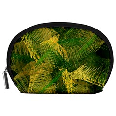 Green And Gold Abstract Accessory Pouches (large)  by linceazul
