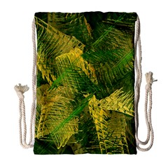 Green And Gold Abstract Drawstring Bag (large) by linceazul