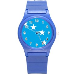 Starry Plough Flag Round Plastic Sport Watch (s) by abbeyz71