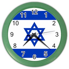Flag Of Israel Color Wall Clocks by abbeyz71