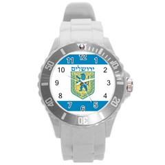 Flag Of Jerusalem Round Plastic Sport Watch (l) by abbeyz71