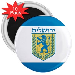 Flag Of Jerusalem 3  Magnets (10 Pack)  by abbeyz71