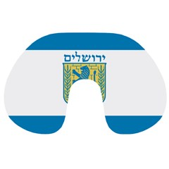 Flag Of Jerusalem Travel Neck Pillows by abbeyz71