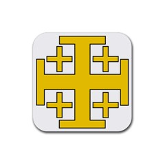Jerusalem Cross Rubber Coaster (square)  by abbeyz71