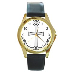 Anchored Cross  Round Gold Metal Watch by abbeyz71
