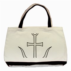 Anchored Cross  Basic Tote Bag (two Sides) by abbeyz71