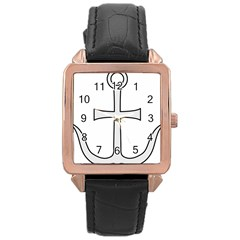 Anchored Cross  Rose Gold Leather Watch  by abbeyz71