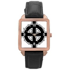 Celtic Cross Rose Gold Leather Watch  by abbeyz71