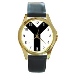 Forked Cross Round Gold Metal Watch