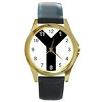 Forked Cross Round Gold Metal Watch Front