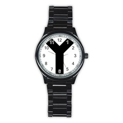 Forked Cross Stainless Steel Round Watch by abbeyz71