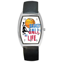 Basketball Is My Life Barrel Style Metal Watch by Valentinaart