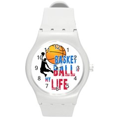 Basketball Is My Life Round Plastic Sport Watch (m) by Valentinaart