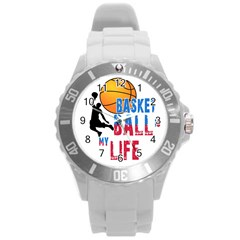 Basketball Is My Life Round Plastic Sport Watch (l) by Valentinaart