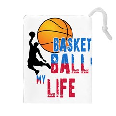 Basketball Is My Life Drawstring Pouches (extra Large) by Valentinaart