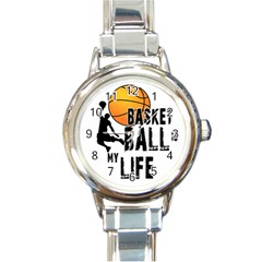 Basketball Is My Life Round Italian Charm Watch by Valentinaart