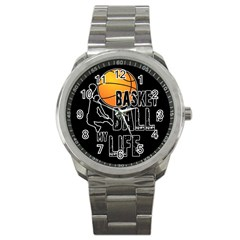 Basketball Is My Life Sport Metal Watch by Valentinaart
