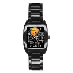 Basketball Is My Life Stainless Steel Barrel Watch by Valentinaart