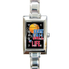 Basketball is my life Rectangle Italian Charm Watch