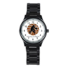 Basketball Never Stops Stainless Steel Round Watch