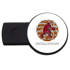 Basketball Never Stops Usb Flash Drive Round (4 Gb) by Valentinaart