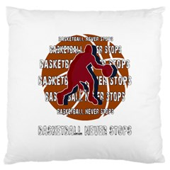 Basketball Never Stops Large Flano Cushion Case (one Side) by Valentinaart