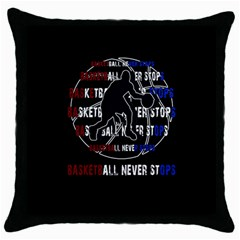 Basketball Never Stops Throw Pillow Case (black) by Valentinaart
